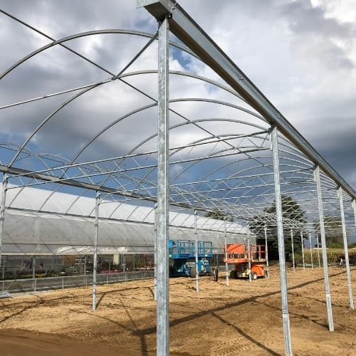 greenhouse framework installed