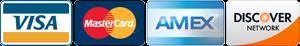 Visa, MasterCard, AMEX, and Discover