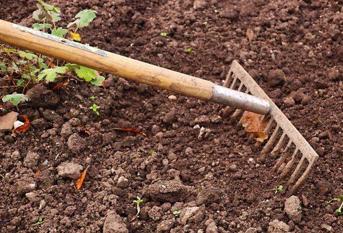 garden soil w rake_stock photo